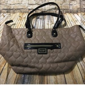 Betsey Johnson Black Tan Quilted Tote Bag
